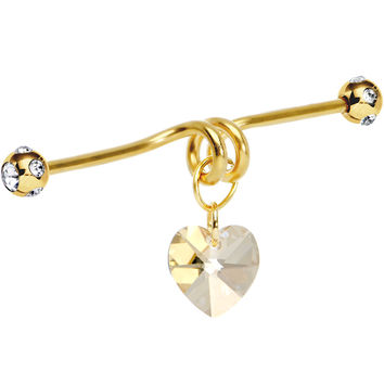 Handcrafted Gold Anodized Heart Dangle Industrial Barbell 40mm