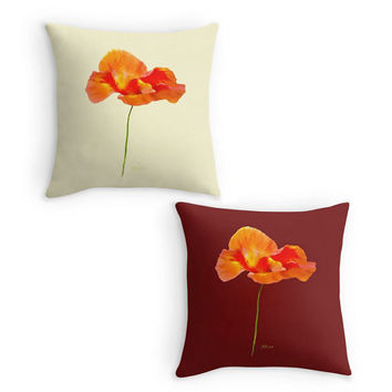 Poppy Throw Pillow, Flower Scatter Cushion, Cream, Plum 16x16, Cushion Cover