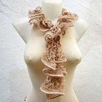 Handmade Knitting Brown cream Scarf Fall Fashion Frilly scarf Ruffled Scarf Winter Accessories