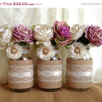 3 DAY SALE rustic burlap and lace covered 3 mason jar vases wedding deocration, bridal shower, engagement, anniversary party decor