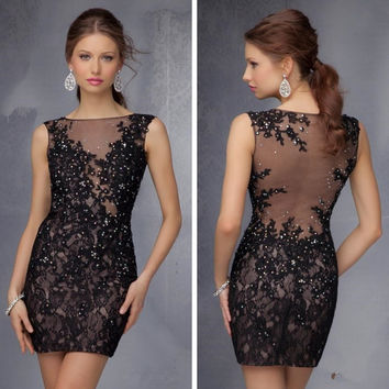 Black Sexy Short Lace Cocktail Dresses Beautiful Women Prom Coctail Dress  for Party jurk vestidos de 3602d09da3ae