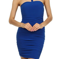 JEWELED COLLAR DRESS - BLUE