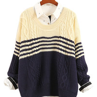 Dark Navy Blue Contrast Beige Striped Cable Knit Sweater