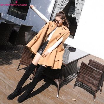 2017 Batwing sleeve double breasted wool cloak coat Women winter casual work woolen military coat outwear high quality casaco