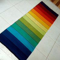 Rainbow striped handwoven wool rug  - unique handmade wool rug , boho rug, striped wool rug, gypsy rug,