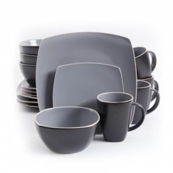 Gibson Soho Lounge Matte 16pc Dinnerware Set, Gray/Black - Walmart.com