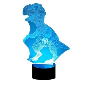 LED Dinosaur Night Light - Colorful LED Lamp 7 Color Change Optical Illusion Touch Table Desk Lamp Birthday Gift for Men Boyfirend Boys Kids Baby