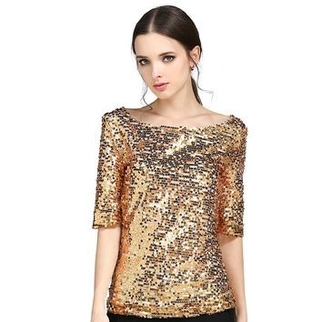 2018 New Women Blouses Fashion Sequin Embroidered Half-sleeved Loose Casual Shirt Plus Size S-5XL