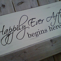 Wooden Sign Happily Ever After begins here by dressingroom5