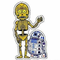DAY OF THE DEAD SUGAR SKULL STAR WARS COLLECTABLE C3PO & R2D2 ARTWORK STICKER | eBay