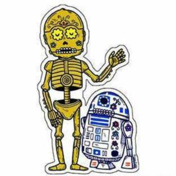 DAY OF THE DEAD SUGAR SKULL STAR WARS COLLECTABLE C3PO U0026 R2D2 ARTWORK  STICKER | EBay
