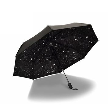New Style Starry Sky Black Coating Windproof Anti UV Sun/Rain Triple Folding Umbrella
