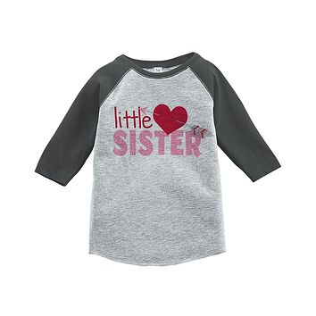 Custom Party Shop Girl's Little Sister Happy Valentine's Day Grey Raglan