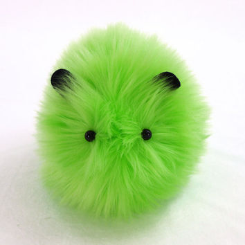 Little Gremlin Lime Green Faux Fur Guinea Pig by Zygopsyche