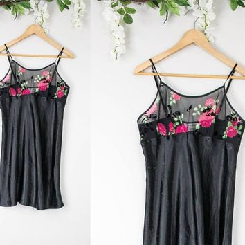 Vintage Black Roses Slip Dress