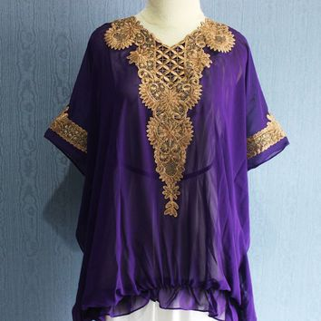 Purple Short Caftan Dress, Vintage Blouse Dress, Embroidered Maxi Blouse, Short Sleeve Womens Tunic Embroidery Clothing