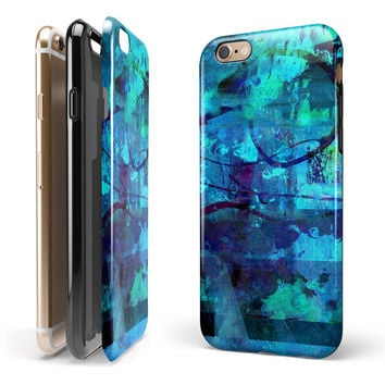 Abstract Blue Vibrant Colored Art 2-Piece Hybrid INK-Fuzed Case for the iPhone 6/6s or 6/6s Plus