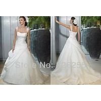 White/Ivory Appliques A-lineTaffeta Wedding Dresses/Gowns with Appliques WD0340
