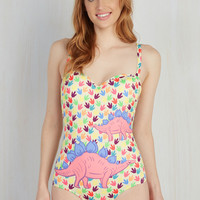 On a Tide Note One-Piece Swimsuit in Dino Tracks | Mod Retro Vintage Bathing Suits | ModCloth.com