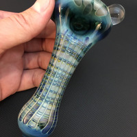 Lake Green Glass Silver Fumed Electric Blue Honeycomb and Wrap and Rake Tobacco Spoon Pipe