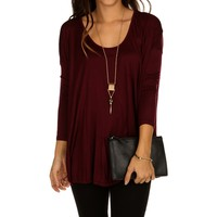 Burgundy Oversize Swing Top