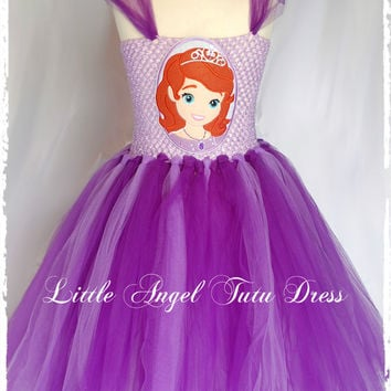 Sofia The First inspired Tutu Dress - handmade fancy dress costume - Purple and Lilac + Sofia Patch / Applique Age 2 3 4 5 6 7 8 9 10 11