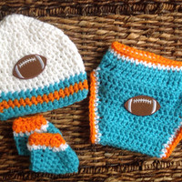 Crochet Miami Dolphins Football Theme Baby Diaper Cover Beanie Gift Set