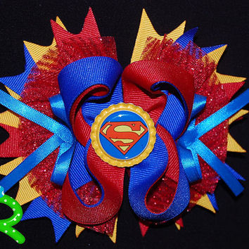 Superman ott bow, boutique hair bow for girls