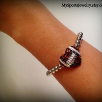 Football Stretch Bracelet with Rhinestone Football Heart Shaped Charm and Silver Bead Band