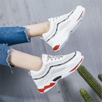 Spring New Designer Wedges Black Platform Sneakers Women Shoes 2018 Tenis  Feminino Casual Female Shoes Harajuku 0b37a34a9