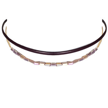 Keep It Cute Bead Choker in Wine