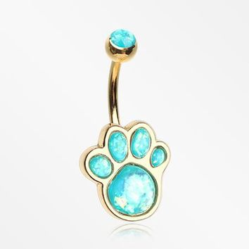 Golden Adorable Paw Print Opalescent Sparkle Belly Button Ring