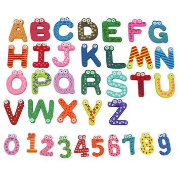 36x Colorful Cartoon Design Wooden Letters & Numbers Refrigerator, Fridge Magnets, Teaching Alphabet Kids Toys