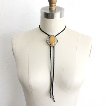 ON SALE Vintage 80s Mustard Gemstone Black Leather Bolo Tie Necklace