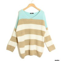 Stripe Matching Color Loose Long Sweater