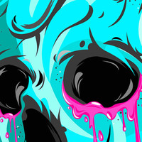Skulls can cry too,Digital print,poster,skull,blue,pink,art,artwork,home decor,gothic,goth,original