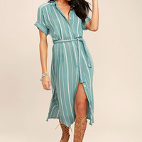 O'Neill Alexandra Turquoise Blue Striped Shirt Dress