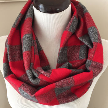 Red Buffalo Plaid Infinity Scarf