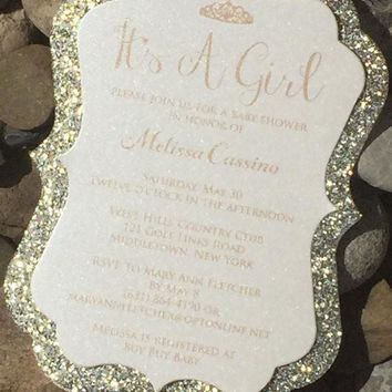 Glitter Baby Shower Invitations, Elegant Baby Shower Invite - MELISSA