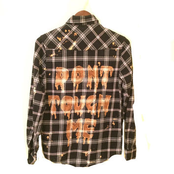 Don't Touch Me Shirt in Black Plaid Flannel. 90s grunge hipster tumblr Goth orange unisex ooak creepy