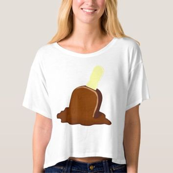 Melting Chocolate Popsicle Stick Crop Top T-Shirt