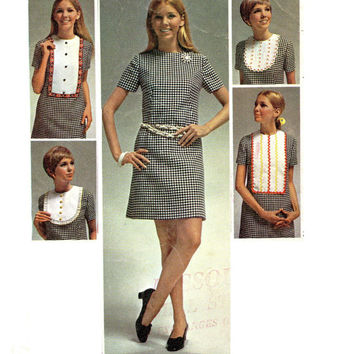 Retro 1960s Fashion Go Go Mini Dress Bib Collar Simplicity 8610 Sewing Pattern Plus Size Bust 38