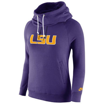 LSU Tigers Nike Womens Rally Funnel Hood-Rewind Sweatshirt – Purple