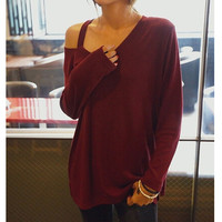 Strapless Round-neck Stylish Plus Size Casual Long Sleeve T-shirts [6338697220]