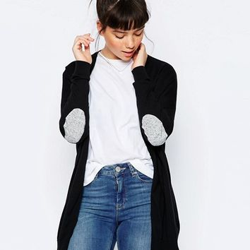 ASOS Swing Cardigan with Gray Oval Elbow Patch at asos.com