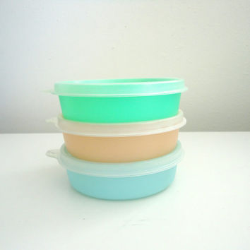 Vintage Tupperware Snack Bowls In Pastel Colors Orange, Blue, and Greenl 1960s Colors
