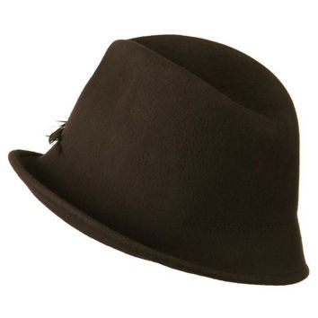 Woman's Solid Fedora Hat with Feather and Bow - Brown OSFM