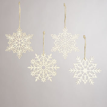Laser-Cut Wooden Snowflake Ornaments, Set of 4 - World Market