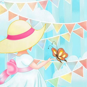 Summer Girl Butterfly Nursery Art Childrens Wall by wonderlaneart
