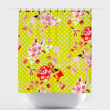 Yellow Polka Dot Shabby Chic Floral Shower Curtain